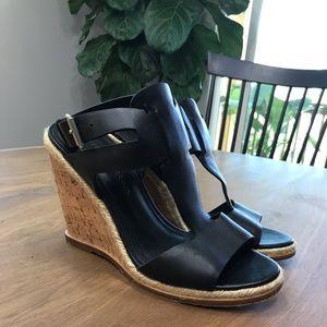 Sigerson Morrison black leather wedge sandals
